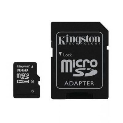 Карта памяти Micro SDHC 16GB Class 10 Kingston + адаптер SD
